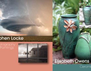 """""""In This Moment"""" featuring ceramics by Elisabeth Owens and paintings/photographic art by Stephen Locke."""