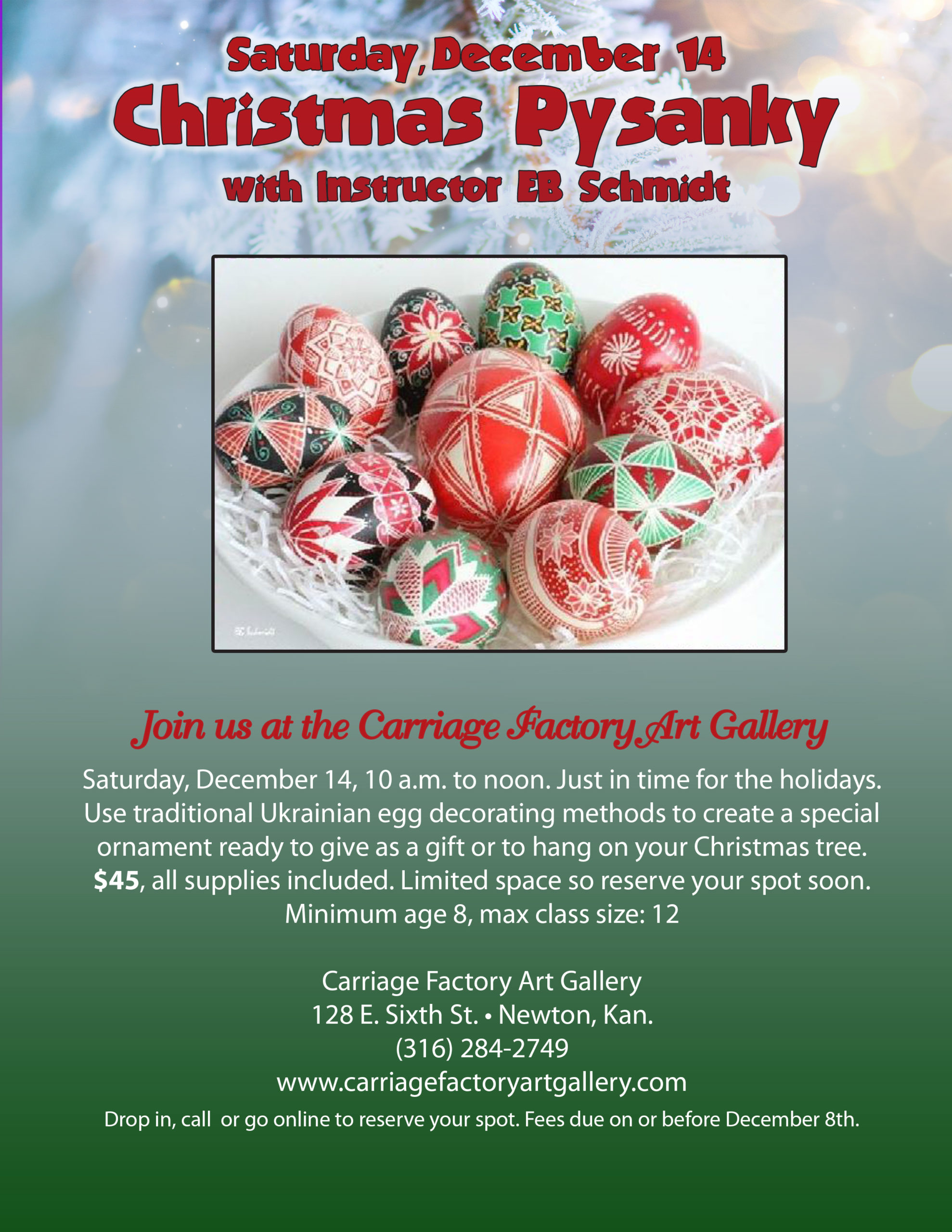 Christmas Pysanky egg decorating class