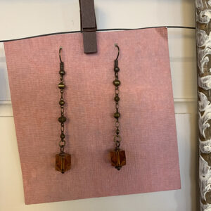 drop earrings with amber colored beads