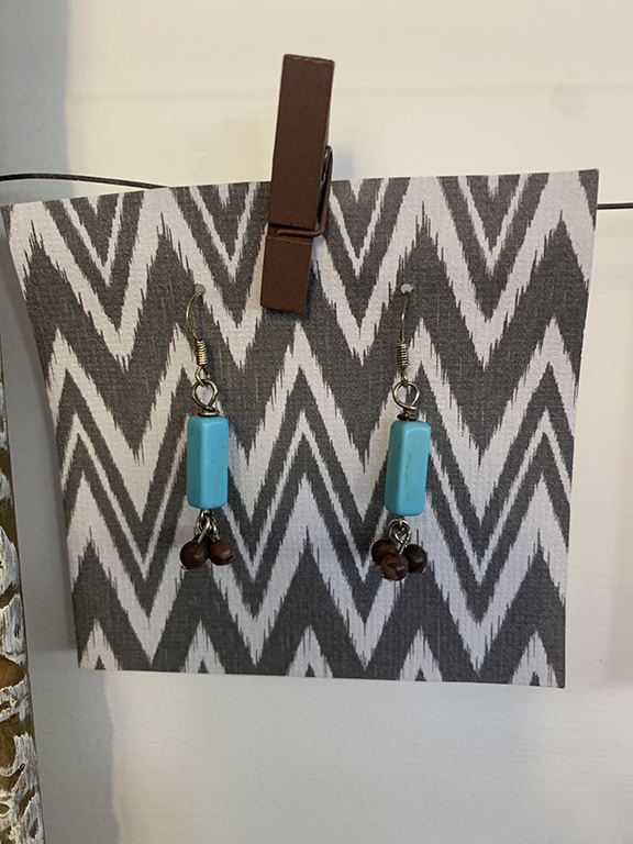 turquoise and brown earrings