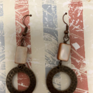 coral bead and brass circle earrings