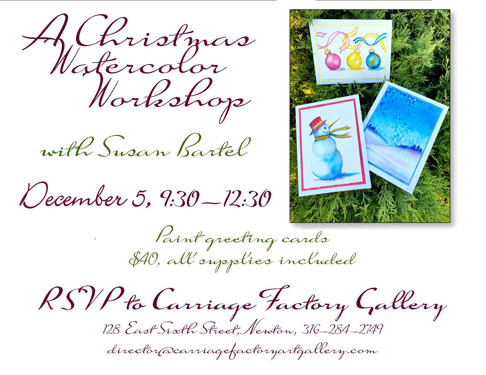 Watercolor Christmas Card Class flyer