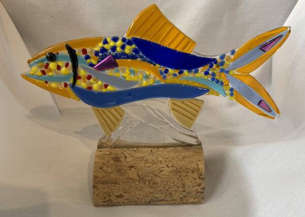 blue and yellow fused glass fish