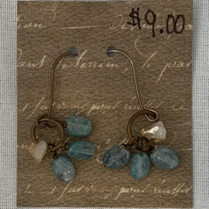 brass drop earrings with two types of stones