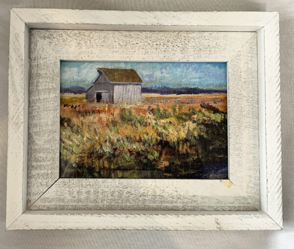 painting of a white barn with green and rust colored field