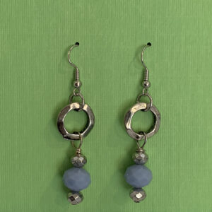 silver circle and blue bead earrings