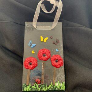glass suncatcher with poppies