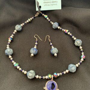 beaded necklace with half moon pendant charm
