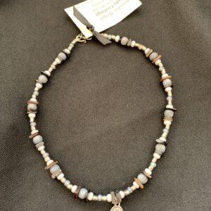 Sterling silver hand-beaded necklace by artist Jennifer Weigel
