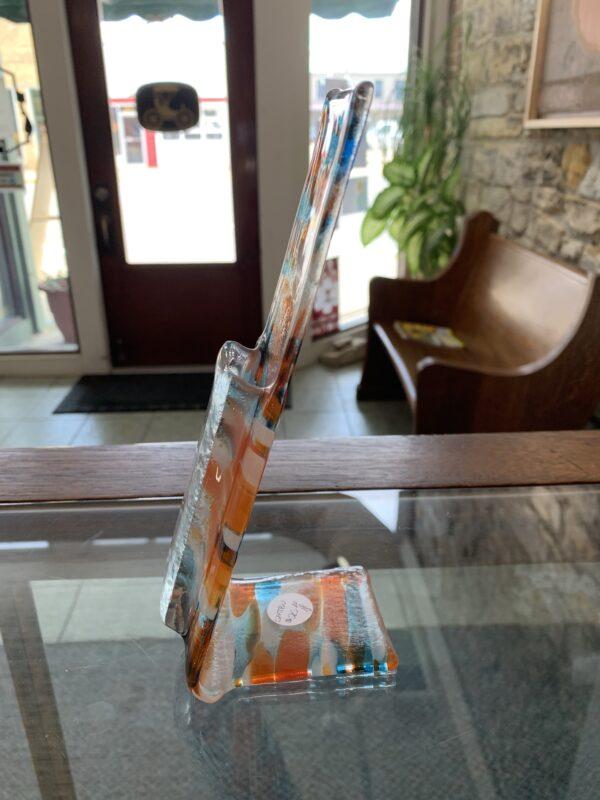 orange and blue fused glass vase